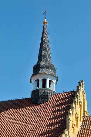 Small bell tower on a church in Faaborg, Denmark