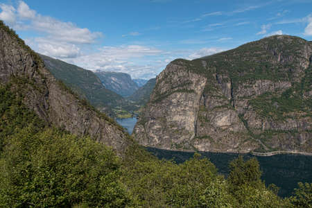 Mountains at Sognefjord, Norway, on a summer day Stock Photo