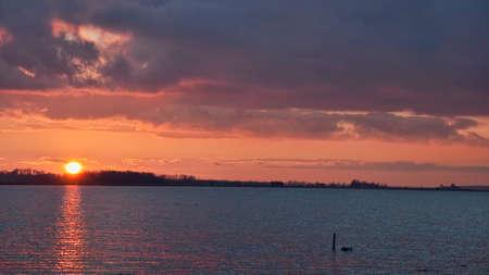 Sunset at the inlet near Horsens, Denmark