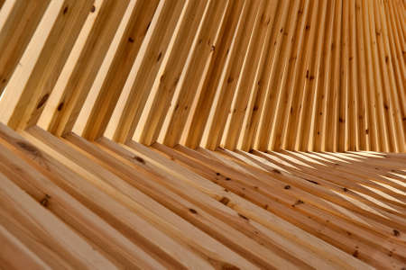 Closeup on a timber structure Stock Photo