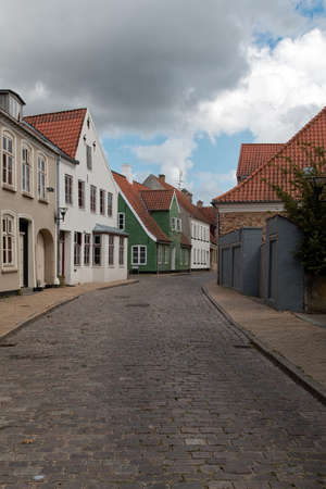 Empty street in the old part of Aabenraa, Denmark Stock Photo