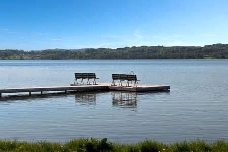Bathing jetty at the lake at Skanderborg, Denmark Stock Photo