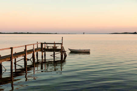Bathing jetty in the sunset at Faaborg, Denmark