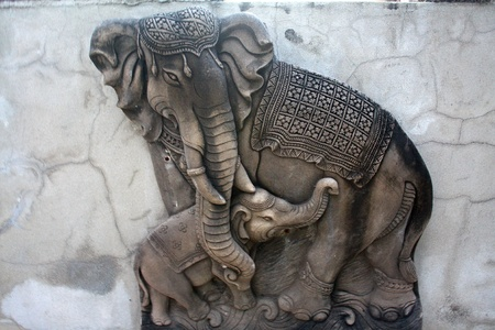 elephant sculpture is made of a stone. Sculptures in the temple. Stock Photo - 11793264