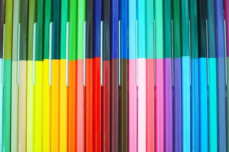 background of rainbow of colorful pencils  photo
