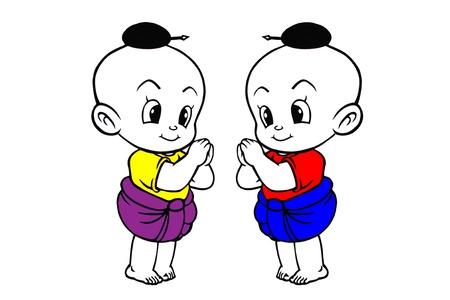 cute girl cartoon: Thai style doll kids vector