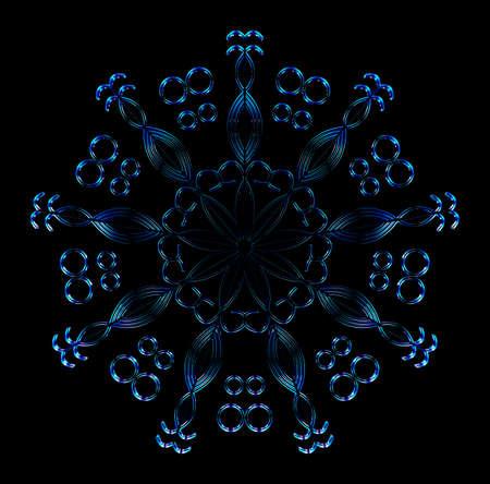 Cold crystal snowflake on the black background. Winter ice element. 3D rendering. Illusztráció
