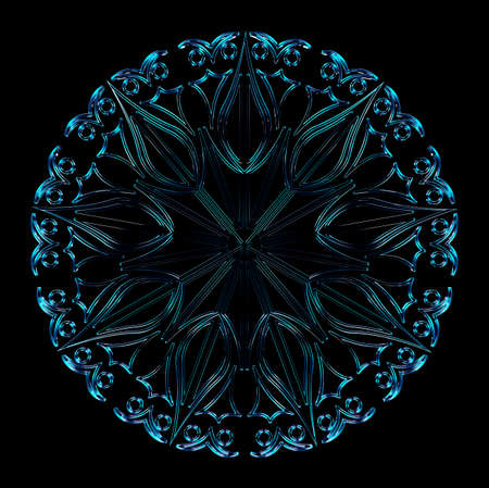 Blue crystal snowflake on the black background. Winter fresh element. 3D rendering.