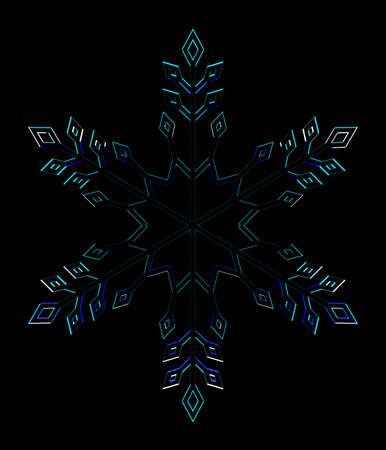 Glass snowflake on the black background. 3D rendering.