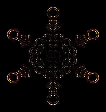 Orange snowflake on the black background. Sun object . 3D rendering. Stock Photo