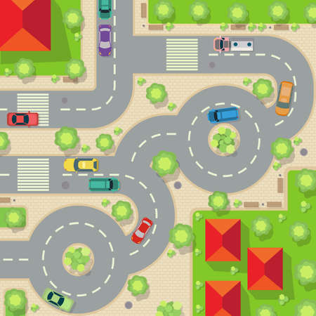 Fly view cars, trees, grass and houses on the map. Street with traffic vehicle. Vector illustration.