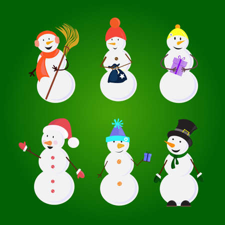 button: Set of snowmans in caps and bucket on the head with and presents on the green background. Cute cartoon character for winter design. Vector Illustration. Stock Photo