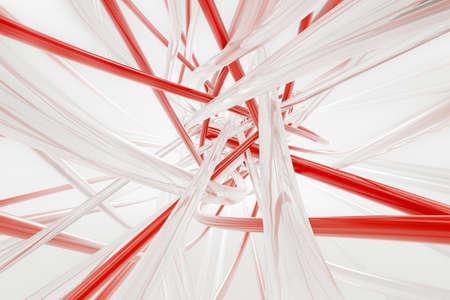 Glatte Und Rote Drähte Auf Dem Weißen Hintergrund. 3D-Rendering ...