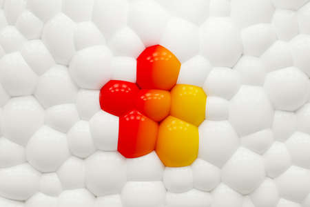 Rainbow brilliant background of rubber balloons. Star balls. 3d rendering.