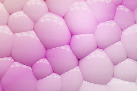 Bright background of rubber balloons. Pink sphere. 3D rendering.