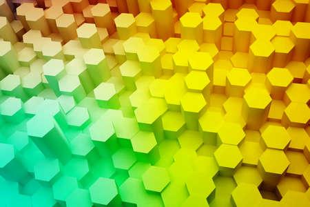 Abstract hexagon background in color gradient line. 3d rendering.