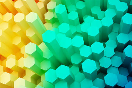 Colorful abstract mosaic hexagon background. 3d rendering.