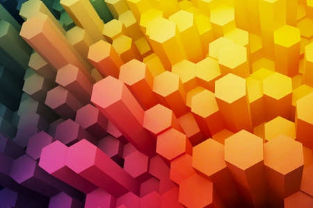 Abstract hexagon electronic shield background. 3d rendering.