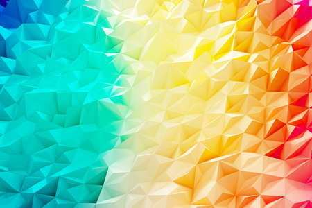 Colorful wave illustration of polygon background and wallpaper. 3d rendering.