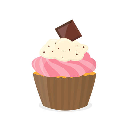 Incredibly vector sweet chocolate cupcake.
