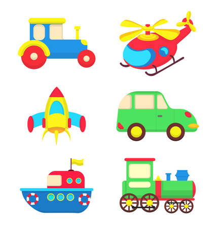 Bright transport vehicle toys for children. Hand drawn vector illustration.