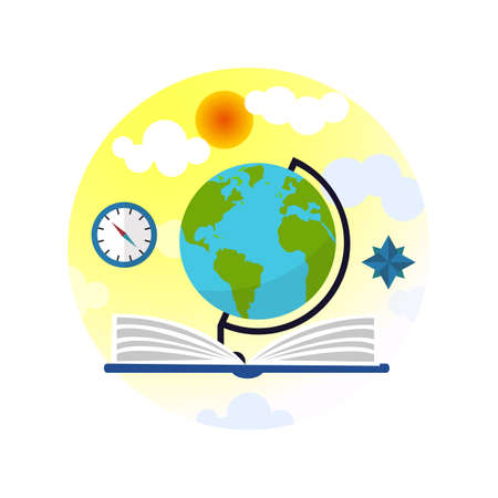 Flat infographic containing a globe book and sunny sky vector illustration.