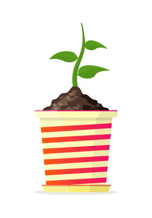 Small sprout in red-yellow pot. Vector Illustration.