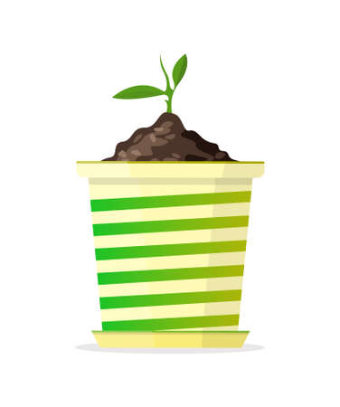 Small sprout in green-yellow pot. Vector Illustration.