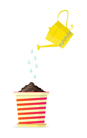 Yellow watering can above a flower pot. Vector Illustration.