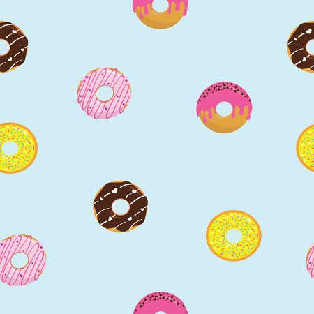 Seamless cartoon glazed sweet donuts on the blue background. Colorful dessert with chocolate and sugar. Vector illustration.