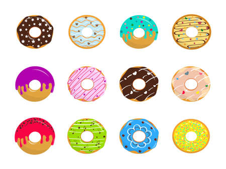 Set of cartoon glazed sweet donuts on white background. Colorful dessert with chocolate and sugar. Vector illustration.