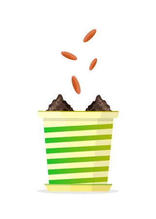 Seeds falling into a flower pot. Vector Illustration.