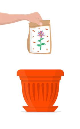 Pack of colorful flower seeds above a red flower pot. Vector Illustration.