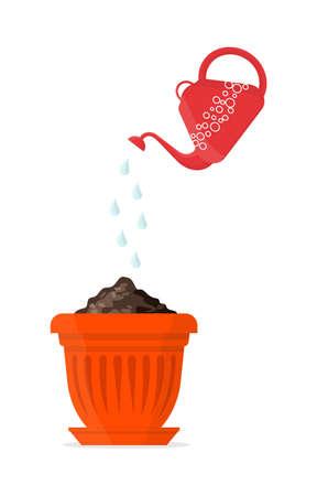 Vector Illustration of a priming in a orange pot.