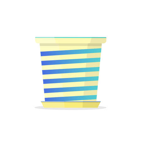 Beautiful striped white-blue pot. Vector Illustration.