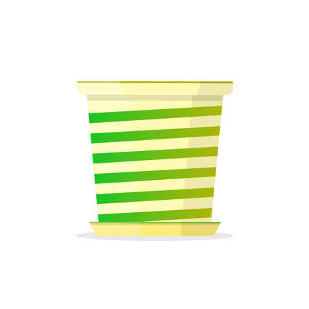 Universal two color white-green flowerpot. Vector Illustration. Illustration