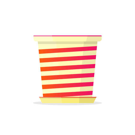 Beautiful flowerpot with white and red band. Vector Illustration.