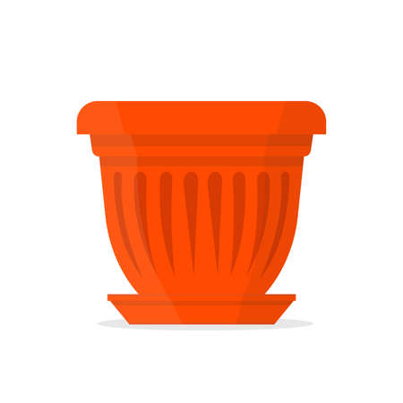 Large clay orange flowerpot. Vector Illustration.