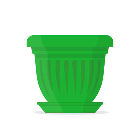 Beautiful green pot with ornament . Vector Illustration.