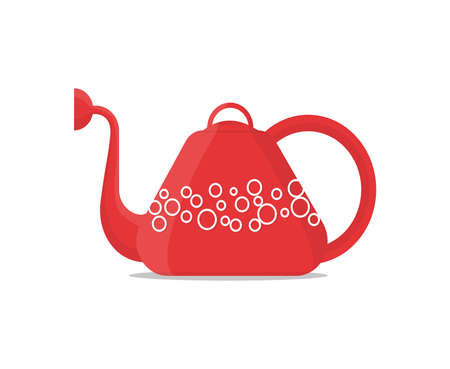 Red watering can with weave. Vector Illustration.