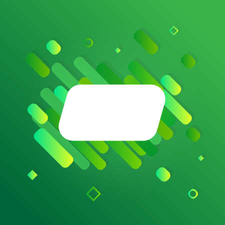 Vector banner presentation on the green background. Card and abstract shapes.