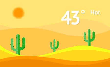 Widget hot weather vector background. Interface design illustration.