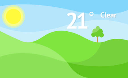 Widget of clear sunny weather vector background. Interface design illustration.