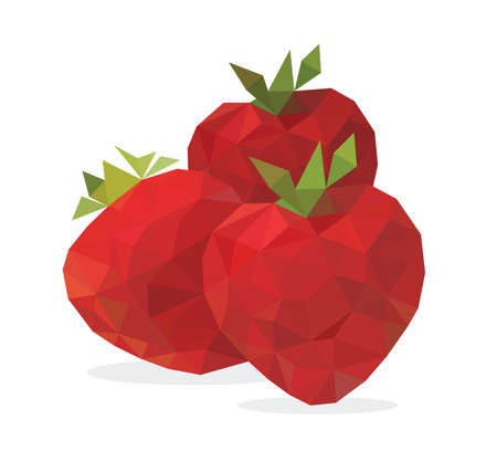 Vector illustration of triangle juicy three red strawberry.