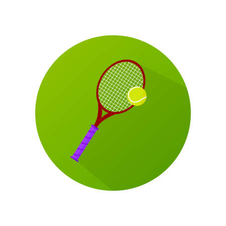 Flat design tennis racket with ball vector icon.