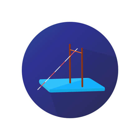 Flat design of pole vault sport on violet background vector icon. Stock Illustratie