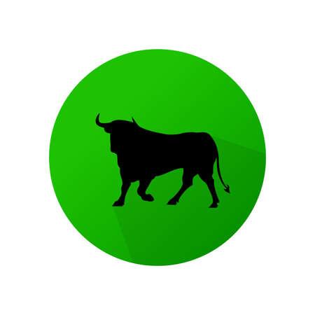 Flat design of bullfighting on green background vector icon. Illustration