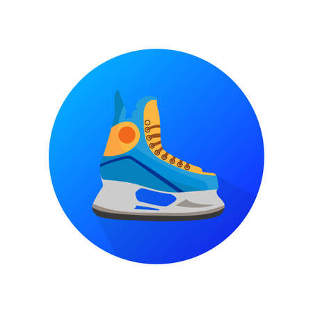 Ice skating sport blue vector icon. Flat design symbol.