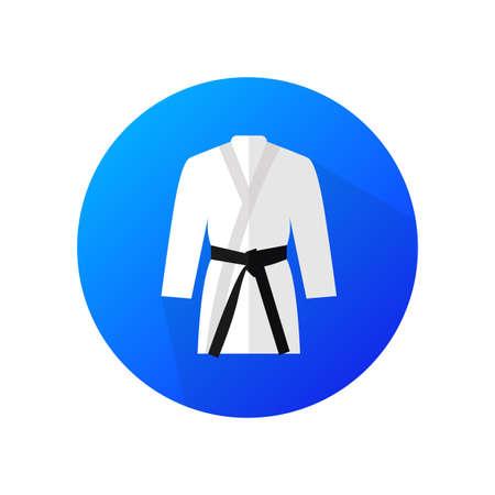 Judo sport blue vector icon. Flat design symbol. Ilustração