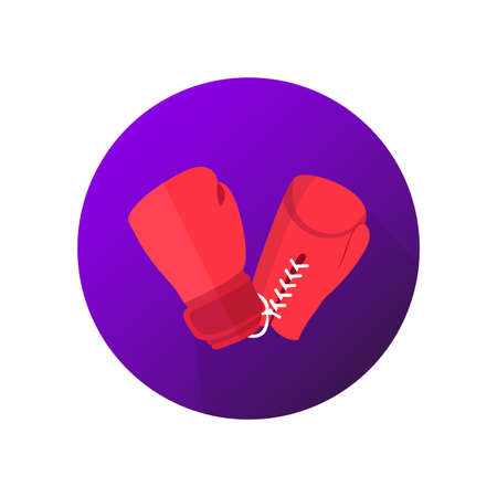Boxing on violet background vector icon. Red gloves symbol. Иллюстрация
